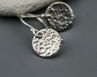Tiny Hammered Dot Earrings in Sterling Silver - Hammered Disc Circle Earrings