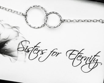 Sisters Necklace, Two Entwined Tiny Circles Sterling Silver Necklace - Eternity Necklace - Sisters for Eternity - Message Card