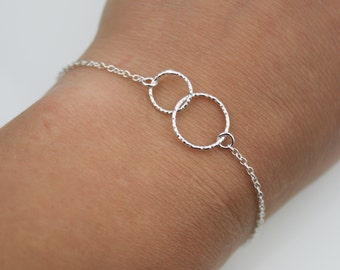 Two Entwined Tiny Circles Sterling Silver Bracelet - Eternity Bracelet - Karma Bracelet