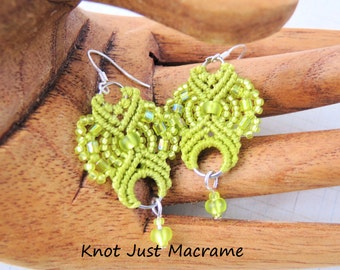 Chartreuse Green Lace Beaded Macrame Earrings MicroMacrame