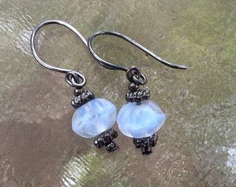 Bluebelle Bud Earrings Light Blue and Gunmetal