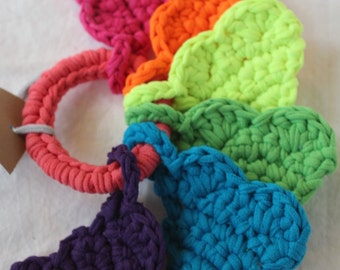 baby love heart toy in neon electric roygbiv by yourmomdesigns (rts) made from upcycled t-shirt yarn montessori inspired