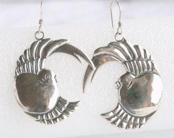 Sterling Silver Bird Earrings Vintage Pierced 925 Silver Fat Bird Figural Dangle Earrings