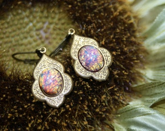 Hidden Fires Art Deco Petite Fire Opal Dangle Earrings Antique Brass Just at 1 1/2 Inches