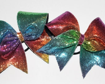 RAINBOW Sequin Beautiful Cheer Bow - by Funbows