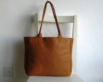 Saddle/ Camel Genuine Leather Tote Shoulder Bag