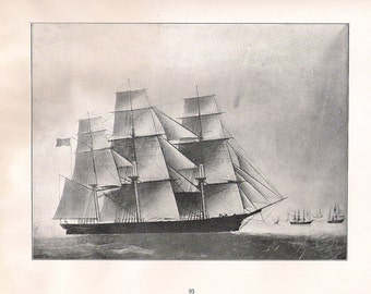 Old Print of the Sailing Ship Sancho Panza, built in 1855