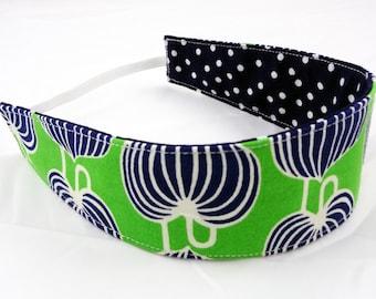Child reversible cotton headband green navy dots lanterns RTS, non slip fabric cloth m2m baby toddler hair wrap girl party favor gift