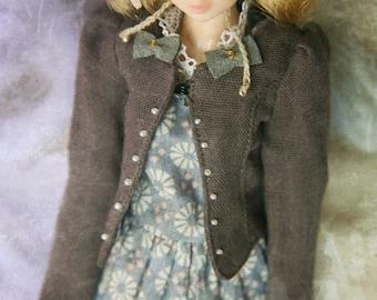 jiajiadoll- grey laced bowknots jacket fits momoko or blythe Misaki Unoa light