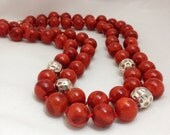 Coral and Sterling Silver Double Strand Necklace
