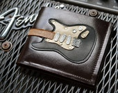 Free!! initials stamp Men Wallet Strat Guitar & Blackie Color leather