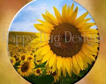 "Sunflower Pocket Mirror or Magnet -  2-1/4"" 2.25"""
