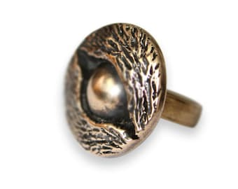 Eye of the Wolf Protective Amulet Ring in Solid Bronze 361