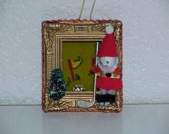 Vintage--Christmas Ornament--Golfing ELF--Picture Frame--1960's