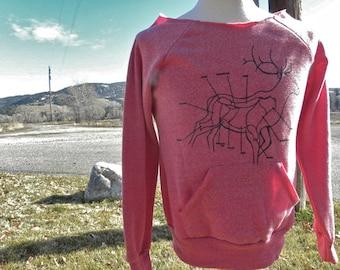 "Medium Raskol Ink. Flashdance Sweater - silk screened design ""Elk Hunting Widow"""