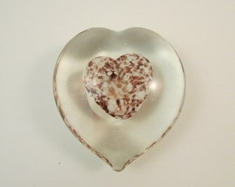Vintage Glass Heart Paperweight Plum Purple and White Encased in Clear Glass