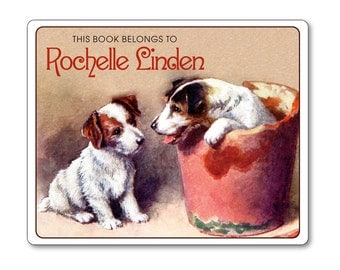 Vintage Personalized Bookplates - Puppy Playmates in Flower Pot - Ex Libris - Childrens Books