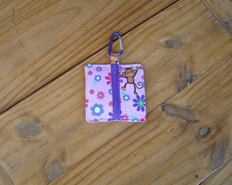 Zippered Earbud, Mp3, USB, Game and Coin Holder in a Monkey and Flowers Print - Carabiner Included