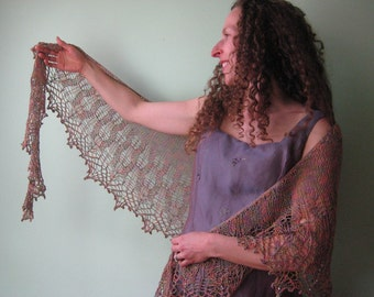 spring bouquet lace shawl, hand knit, lavender, coral pink, sage green