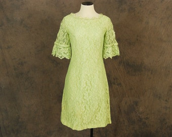 vintage 60s Dress - 1960s Lime Green Lace Wiggle Dress Sz S