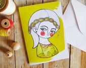 Yellow greeting card & envelope, daisy girl illustration