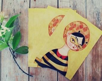 Miss Bee postcards set of 5 yellow illustration