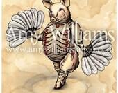 "Ham Day ""Gunty"" Corpulent Burlesque Pig A4 Print"