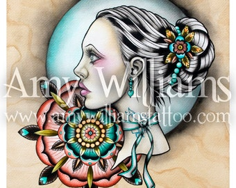 Hold Back The Day Tattoo Art A4 Print