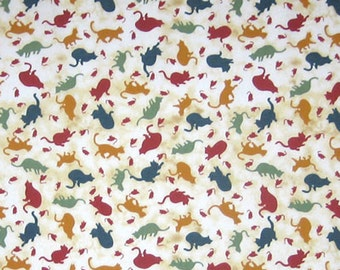 Cat Fabric, Cats Silhouettes Cotton Fabric, Cream Fabric with Coloured Cat Pattern