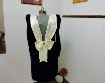 1980s Velour Blue Short Dress