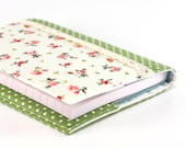 Fabric Journal - Little Red Roses with Green Polka Dots - Handmade Fabric Cover A6 Notebook, Diary - Pink Flowers on White With Lace