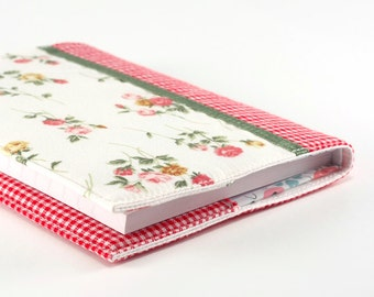 Fabric Journal Cover - Rose Garden - A6 Notebook, Diary - Romantic Pink Red Flowers With Green Satin Ribbon and Red Gingham, Diary Cover