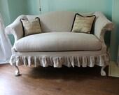 sofa couch Camelback French Linen Shabby Chic Ruffle Slipcover paris Custom Order OOH LA LA