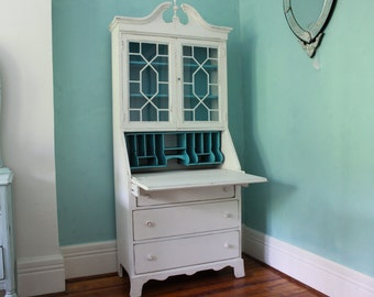 Custom order antique secretary desk white dustressed turquoise blue shabby chic beach coastal cottage prairie vintage
