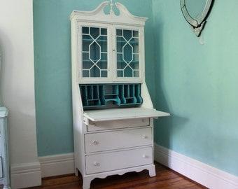 Custom order antique secretary desk white dustressed turquoise blue shabby chic beach coastal cottage prairie vintage