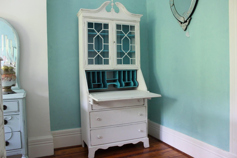 Custom Order Antique Secretary Desk White Dustressed Turquoise White Secretary Desk Design