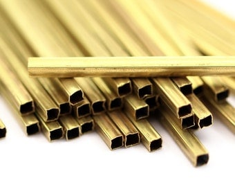 Brass Square Tubes - 50 Square Raw Brass Tubes (30x2x2mm) Sq22  A0714