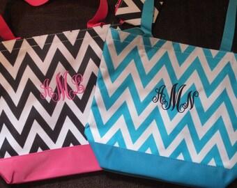 CLOSEOUT SALE... Custom CHEVRON tote bag with free personalization.  Velcro Closure. Bridesmaid tote bag.