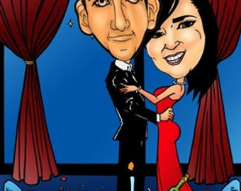 Custom Anniversary Couple Cartoon Gift Caricature by email, Personalized Digital Online Cartoon Caricature Valentines Photo Gift Portrait