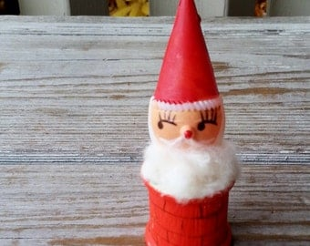 1950's Sant Claus Popping out of Chimney Ornament Decoration