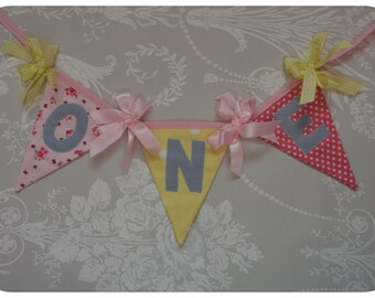 Pink and Yellow High Chair Banner Bunting with age years Handmade Fabric ideal for a Birthday Party or Photo prop Custom Made to order