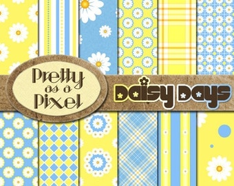 Digital Paper Pack - Daisy Days - Scrapbooking Backgrounds - Set of 12 - INSTANT DOWNLOAD