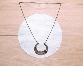 Sale  - CRESCENT - geometric, laser cut/etched & string wrapped walnut necklace - 4 color combinations available