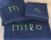 Personalized Towel Set - Bath Towel, Hand Towel and Wash Cloth