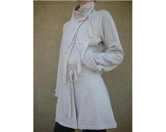 Hemp fleece  tie kimono jacket