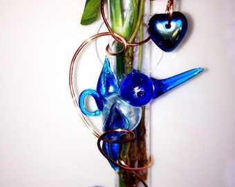 Hummingbird Handcrafted glass Hanging Window Bud Vase with Suction Cup Wired glass Rooter Window Vase                  r