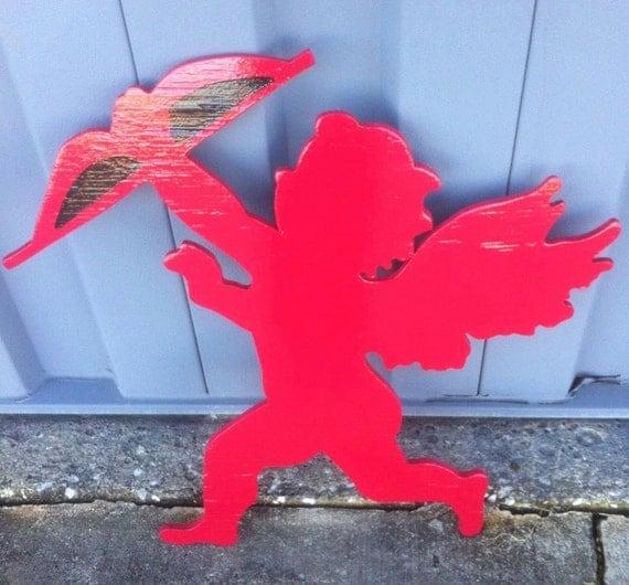 Valentine Holiday Wooden Yard Art Decoration Cupid Fun