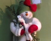 """Sissy Snowlady and Lamb 7"""" Felted Wool Ornament"""