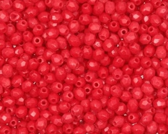 Czech Glass 3mm Faceted Fire Polish Beads (50) Opaque Red, 3mm Red Beads,Jewelry Supplies,Beads