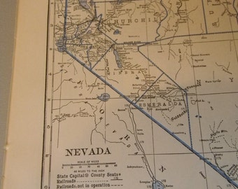 1934 State Map Nevada - Vintage Antique Map Great for Framing